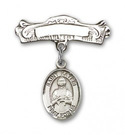 Pin Badge with St. Kateri Charm and Arched Polished Engravable Badge Pin [BLBP0688]