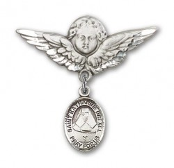 Pin Badge with St. Katherine Drexel Charm and Angel with Larger Wings Badge Pin [BLBP0366]