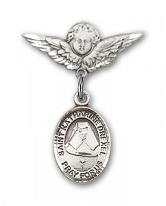 Pin Badge with St. Katherine Drexel Charm and Angel with Smaller Wings Badge Pin [BLBP0367]