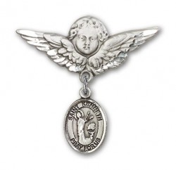 Pin Badge with St. Kenneth Charm and Angel with Larger Wings Badge Pin [BLBP2164]