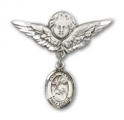 Pin Badge with St. Kevin Charm and Angel with Larger Wings Badge Pin [BLBP0696]