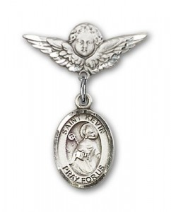 Pin Badge with St. Kevin Charm and Angel with Smaller Wings Badge Pin [BLBP0697]