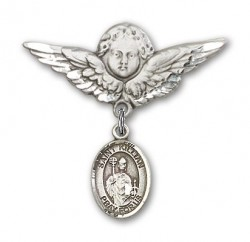Pin Badge with St. Kilian Charm and Angel with Larger Wings Badge Pin [BLBP0731]