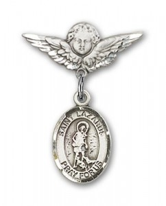 Pin Badge with St. Lazarus Charm and Angel with Smaller Wings Badge Pin [BLBP0725]