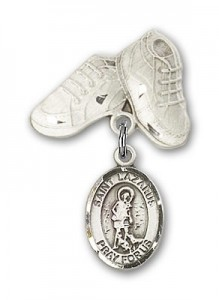 Pin Badge with St. Lazarus Charm and Baby Boots Pin [BLBP0727]