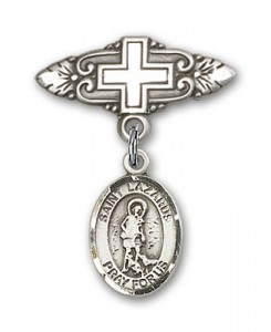 Pin Badge with St. Lazarus Charm and Badge Pin with Cross [BLBP0722]
