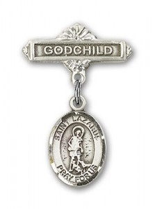 Pin Badge with St. Lazarus Charm and Godchild Badge Pin [BLBP0726]