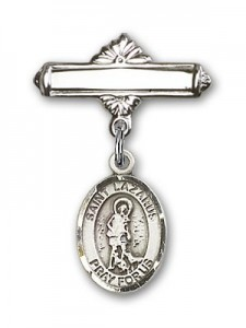 Pin Badge with St. Lazarus Charm and Polished Engravable Badge Pin [BLBP0721]