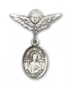 Pin Badge with St. Leo the Great Charm and Angel with Smaller Wings Badge Pin [BLBP1103]