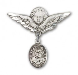 Pin Badge with St. Lidwina of Schiedam Charm and Angel with Larger Wings Badge Pin [BLBP1947]
