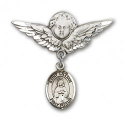 Pin Badge with St. Lillian Charm and Angel with Larger Wings Badge Pin [BLBP1466]
