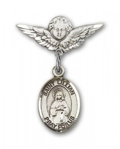 Pin Badge with St. Lillian Charm and Angel with Smaller Wings Badge Pin [BLBP1467]