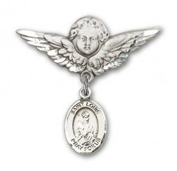 Pin Badge with St. Louis Charm and Angel with Larger Wings Badge Pin [BLBP0829]
