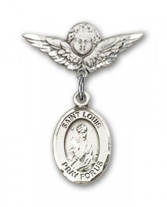 Pin Badge with St. Louis Charm and Angel with Smaller Wings Badge Pin [BLBP0830]