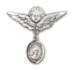 Pin Badge with St. Louis Marie de Montfort Charm and Angel with Larger Wings Badge Pin [BLBP2150]