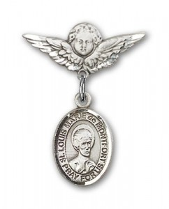 Pin Badge with St. Louis Marie de Montfort Charm and Angel with Smaller Wings Badge Pin [BLBP2151]
