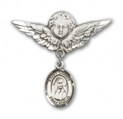 Pin Badge with St. Louise de Marillac Charm and Angel with Larger Wings Badge Pin [BLBP0710]
