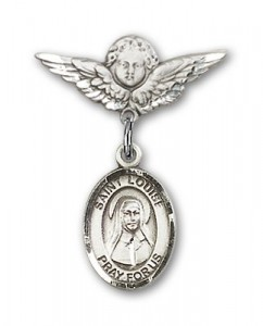Pin Badge with St. Louise de Marillac Charm and Angel with Smaller Wings Badge Pin [BLBP0711]