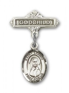 Pin Badge with St. Louise de Marillac Charm and Godchild Badge Pin [BLBP0712]