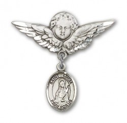 Pin Badge with St. Lucia of Syracuse Charm and Angel with Larger Wings Badge Pin [BLBP0717]