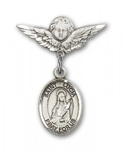 Pin Badge with St. Lucia of Syracuse Charm and Angel with Smaller Wings Badge Pin [BLBP0718]