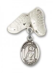 Pin Badge with St. Lucia of Syracuse Charm and Baby Boots Pin [BLBP0720]