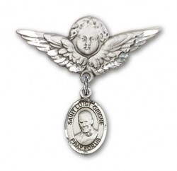 Pin Badge with St. Luigi Orione Charm and Angel with Larger Wings Badge Pin [BLBP2143]