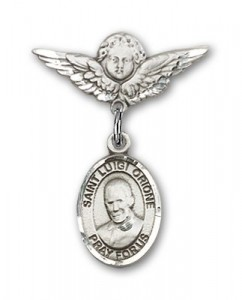 Pin Badge with St. Luigi Orione Charm and Angel with Smaller Wings Badge Pin [BLBP2144]