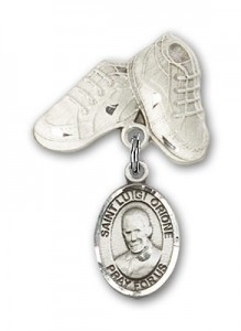 Pin Badge with St. Luigi Orione Charm and Baby Boots Pin [BLBP2146]
