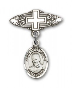Pin Badge with St. Luigi Orione Charm and Badge Pin with Cross [BLBP2141]