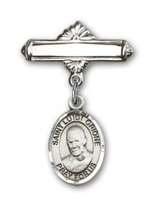 Pin Badge with St. Luigi Orione Charm and Polished Engravable Badge Pin [BLBP2140]