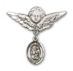 Pin Badge with St. Luke the Apostle Charm and Angel with Larger Wings Badge Pin [BLBP0738]