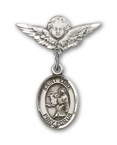 Pin Badge with St. Luke the Apostle Charm and Angel with Smaller Wings Badge Pin [BLBP0739]