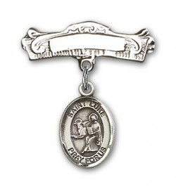 Pin Badge with St. Luke the Apostle Charm and Arched Polished Engravable Badge Pin [BLBP0737]