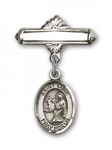 Pin Badge with St. Luke the Apostle Charm and Polished Engravable Badge Pin [BLBP0735]