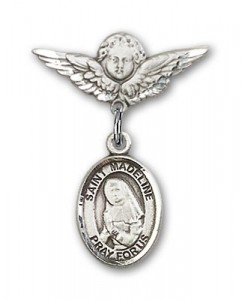 Pin Badge with St. Madeline Sophie Barat Charm and Angel with Smaller Wings Badge Pin [BLBP1530]