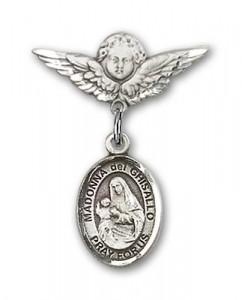 Pin Badge with St. Madonna Del Ghisallo Charm and Angel with Smaller Wings Badge Pin [BLBP1306]