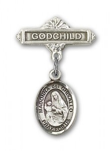 Pin Badge with St. Madonna Del Ghisallo Charm and Godchild Badge Pin [BLBP1307]