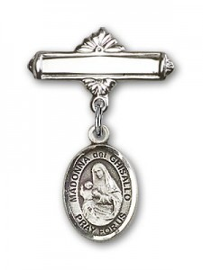 Pin Badge with St. Madonna Del Ghisallo Charm and Polished Engravable Badge Pin [BLBP1302]