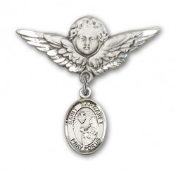 Pin Badge with St. Margaret Mary Alacoque Charm and Angel with Larger Wings Badge Pin [BLBP0766]