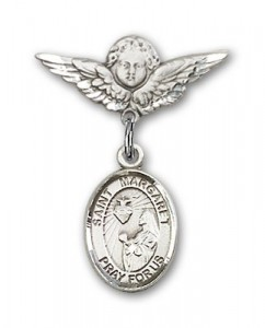 Pin Badge with St. Margaret Mary Alacoque Charm and Angel with Smaller Wings Badge Pin [BLBP0767]