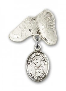 Pin Badge with St. Margaret Mary Alacoque Charm and Baby Boots Pin [BLBP0769]