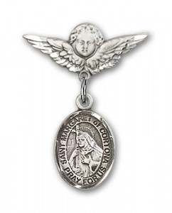 Pin Badge with St. Margaret of Cortona Charm and Angel with Smaller Wings Badge Pin [BLBP1976]