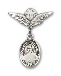 Pin Badge with St. Maria Faustina Charm and Angel with Smaller Wings Badge Pin [BLBP0746]