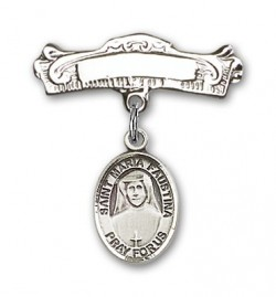 Pin Badge with St. Maria Faustina Charm and Arched Polished Engravable Badge Pin [BLBP0744]