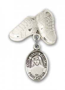 Pin Badge with St. Maria Faustina Charm and Baby Boots Pin [BLBP0748]