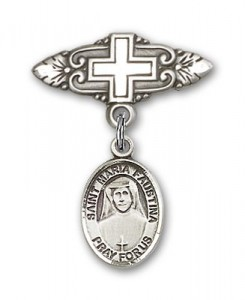 Pin Badge with St. Maria Faustina Charm and Badge Pin with Cross [BLBP0743]