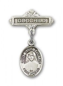 Pin Badge with St. Maria Faustina Charm and Godchild Badge Pin [BLBP0747]