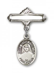 Pin Badge with St. Maria Faustina Charm and Polished Engravable Badge Pin [BLBP0742]