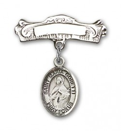 Pin Badge with St. Maria Goretti Charm and Arched Polished Engravable Badge Pin [BLBP1339]